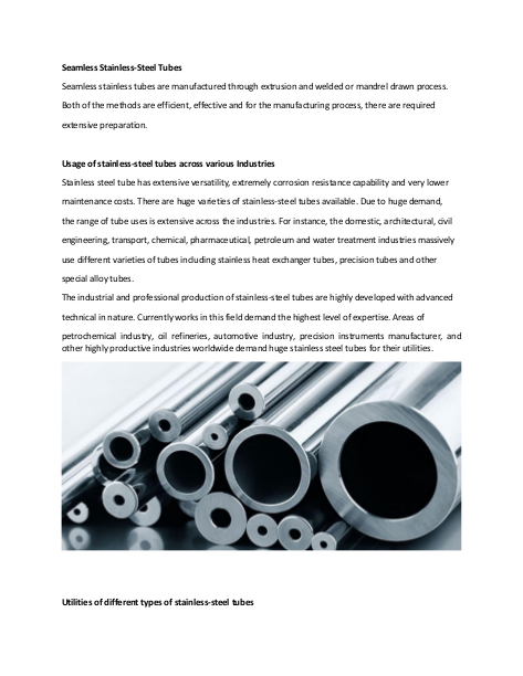 Seamless Stainless-Steel Tubes
