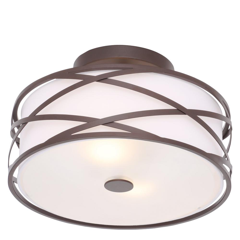 Canarm Carlina 2 Light Oil Rubbed Bronze Semi Flush Mount Light Isf520a02orb In 2020 Flush Mount Lighting Fabric Shades Light Fixtures