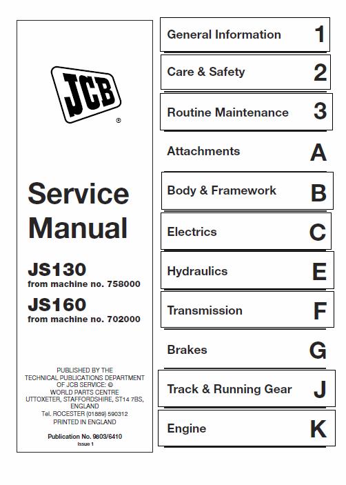 Jcb Js130 Js160 Tracked Excavator Service Manual Repair Manuals Backhoe Loader Manual
