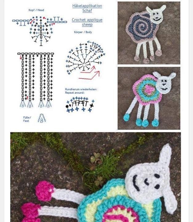 Patrones Crochet: Apliques | Apliques | Pinterest | El motivo, Oveja ...