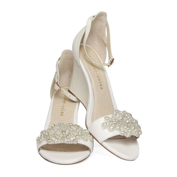 ladies ivory wedge shoes with ivory pearl and by foreversoles 19995