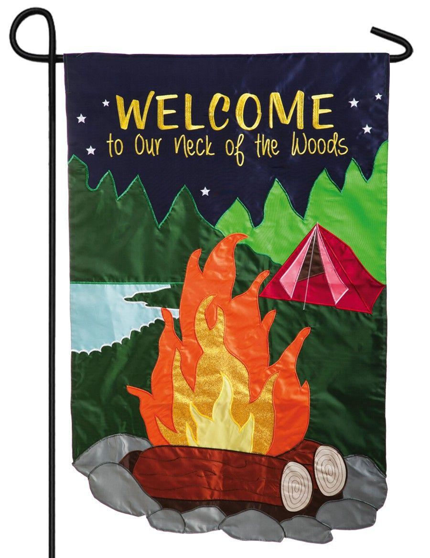 Camp Fire Tent Glitter Applique Garden Flag   Orange glitter ...