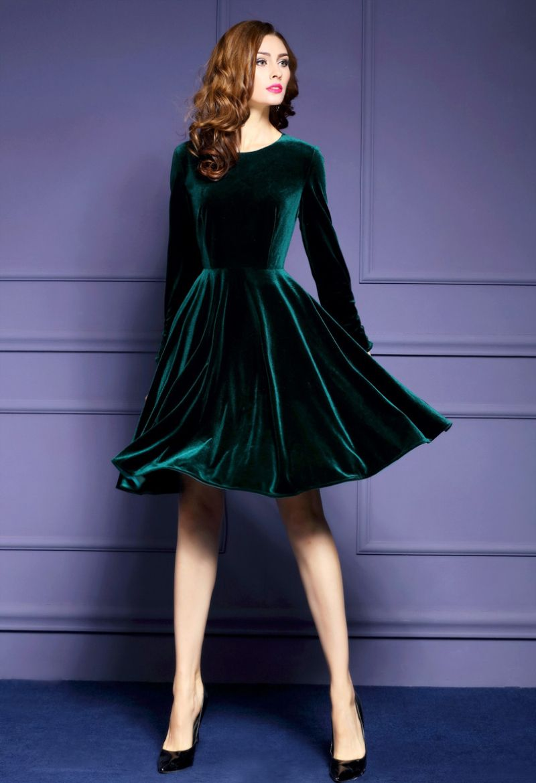 Elegant A-Line Velvet Dark Green Evening Dress