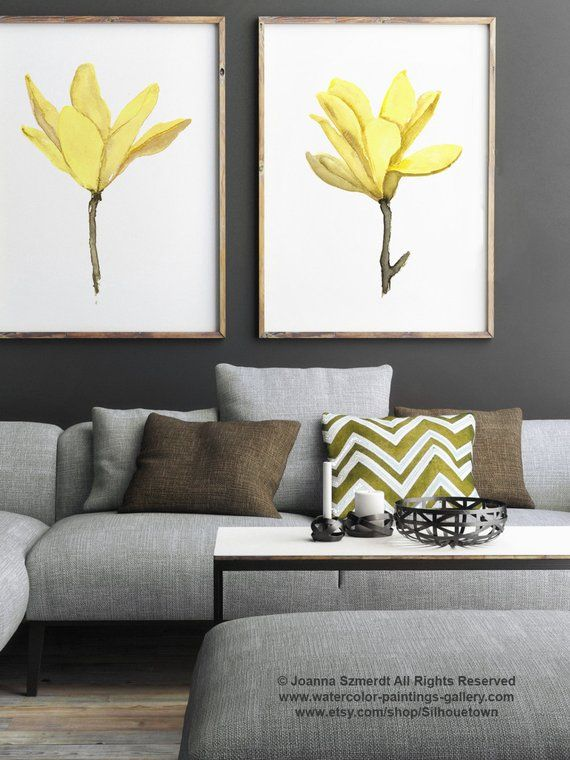 Yellow Magnolia Watercolor Painting Abstract Flowers Set Two Floral