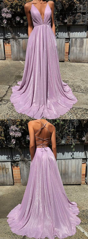 Spaghettibügel Tiefer V Pailletten Langes Abendkleid #rosaspitzenkleider