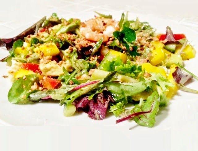 Claire Au Matcha: Salade Thai aux Gambas, Mangue et Avocat : version améliorée