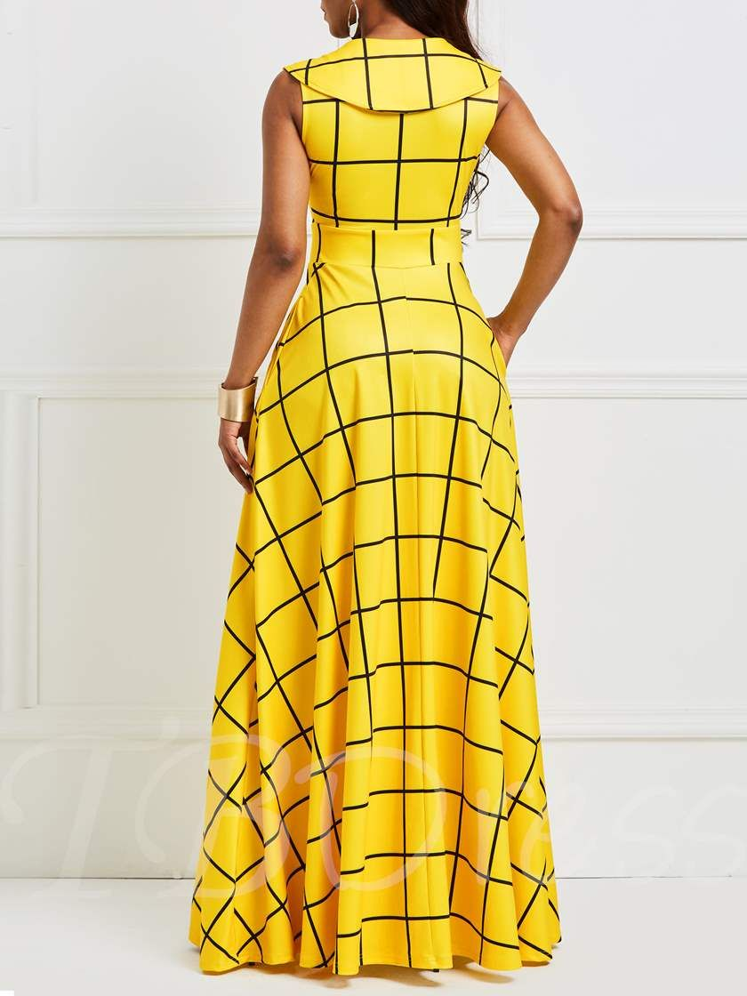 e63ee137cbe Yellow Sleeveless Floor-Length Women s Maxi Dress