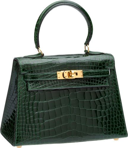 Hermes 20cm Shiny Vert Foret Alligator Mini Kelly with GoldHardware ... 66b237ac2f366