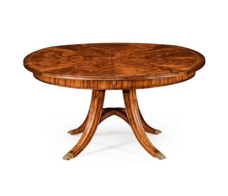 Traditional Round Walnut Jupe Table With Hidden Leaves In
