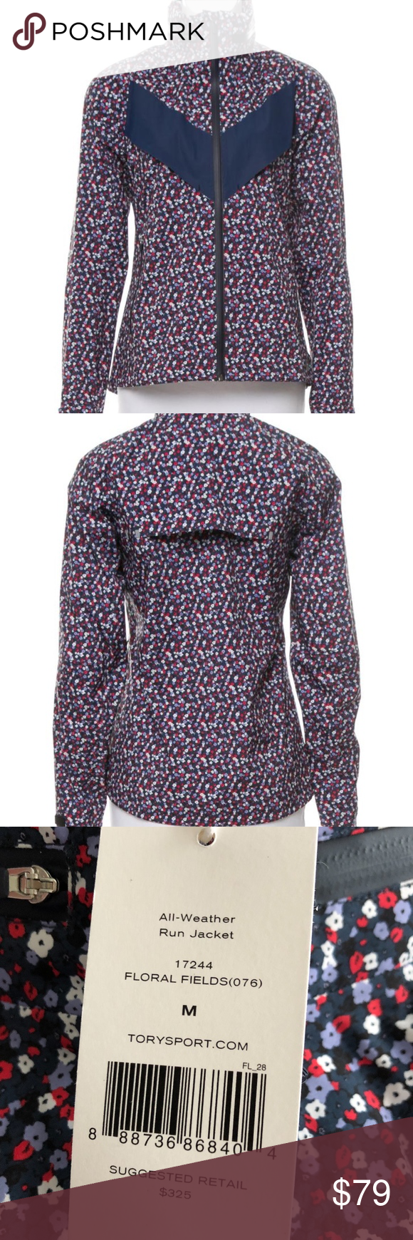 b6b462644bdb Tory Burch Blue Floral Sport Allweather Run Fields DESCRIPTION Brave the  elements in our All-Weather Run Jacket. The storm shell uses multi-layer  fusion ...