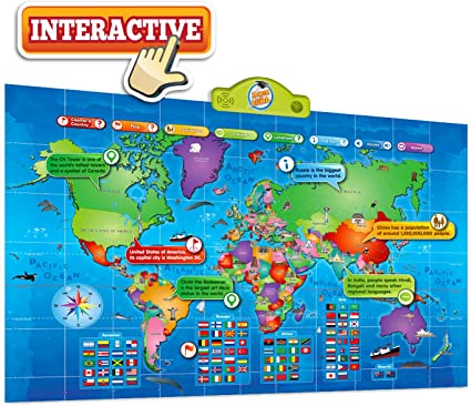 Amazon.com: Kids Interactive Talking World Map Touch Activated Geography for Kids, Push-to-Talk Map Learn Over 1000 Facts and Quizzes About 92 Countries World Map Puzzle Game, Fun & Educational: Toys & Games