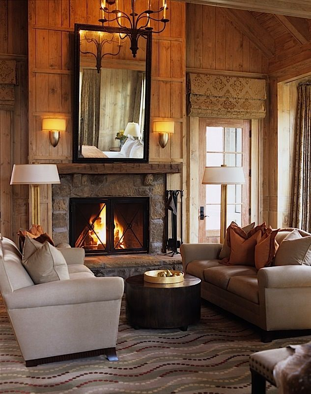 rustic modern living room stone fireplace | Rustic meets modern living room. Neutral colours, wood and ...