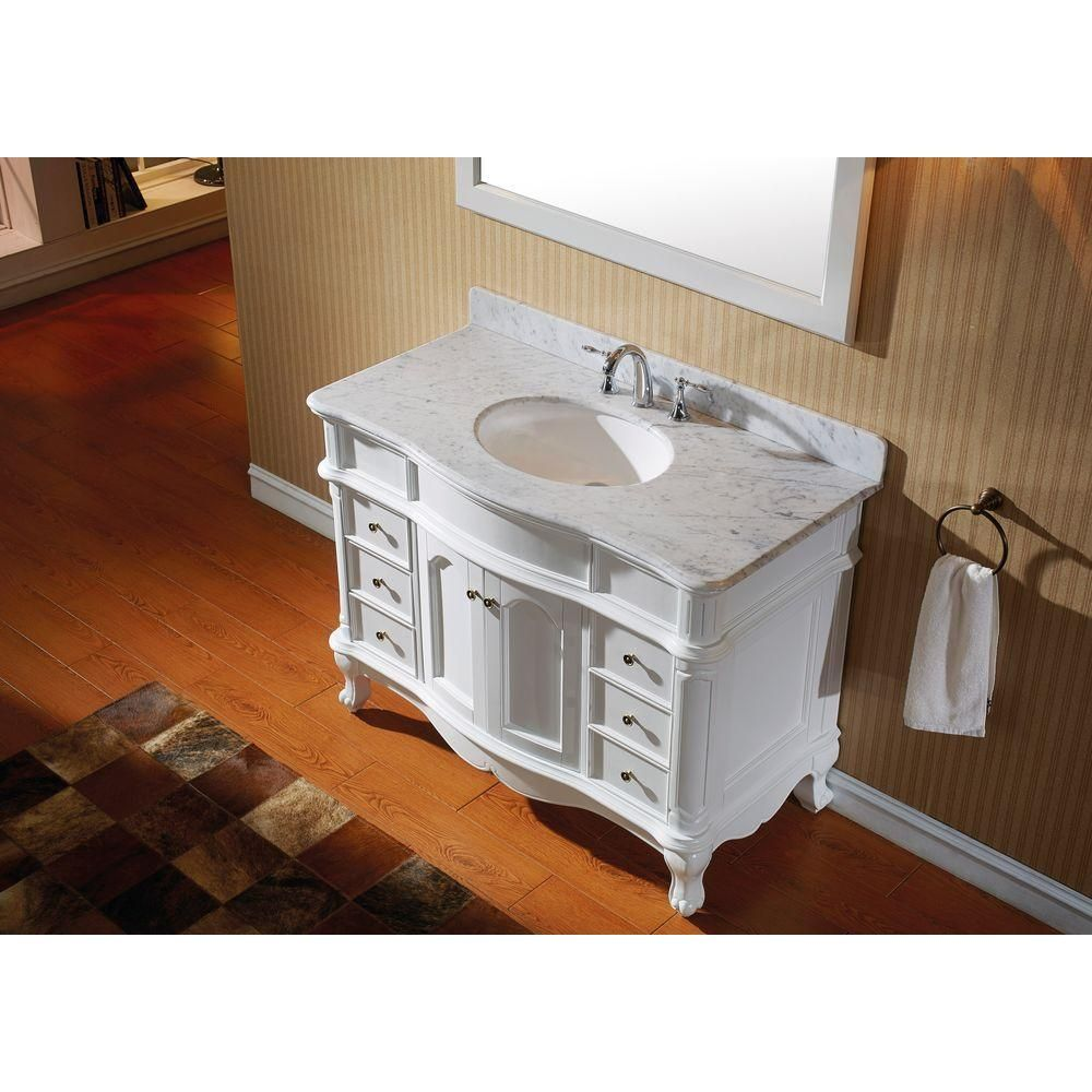 Usa Norhaven 48 In Vanity In White with Marble Vanity Top In