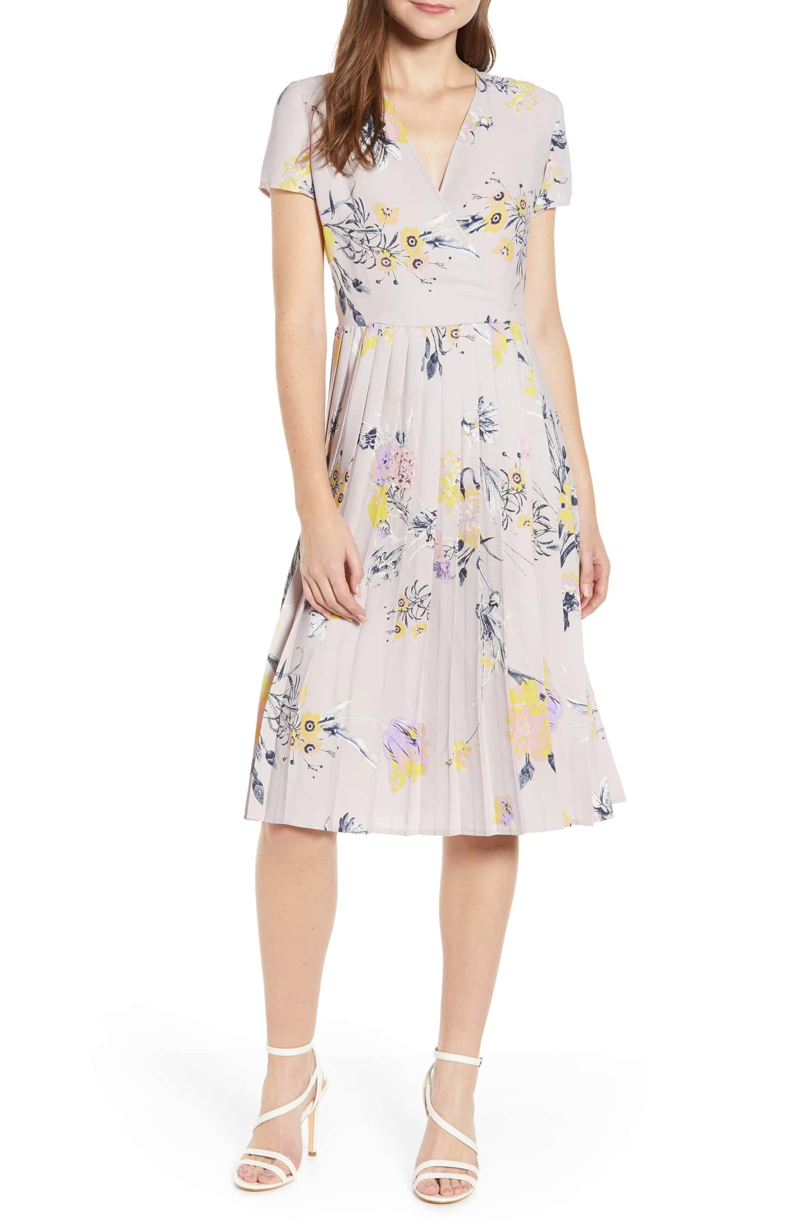 44c158b5f59 Pleated Surplice Dress