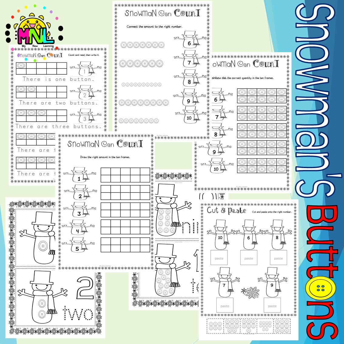 Snowman S Buttons Counting Prek Kindergarten Pack In