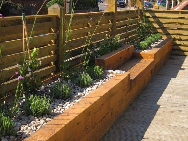Holz Sitzbank Sukkulenten Beet Kies Bodenbelag Sichtschutz Garten Hochbeet Gartengestaltung Hochbeet