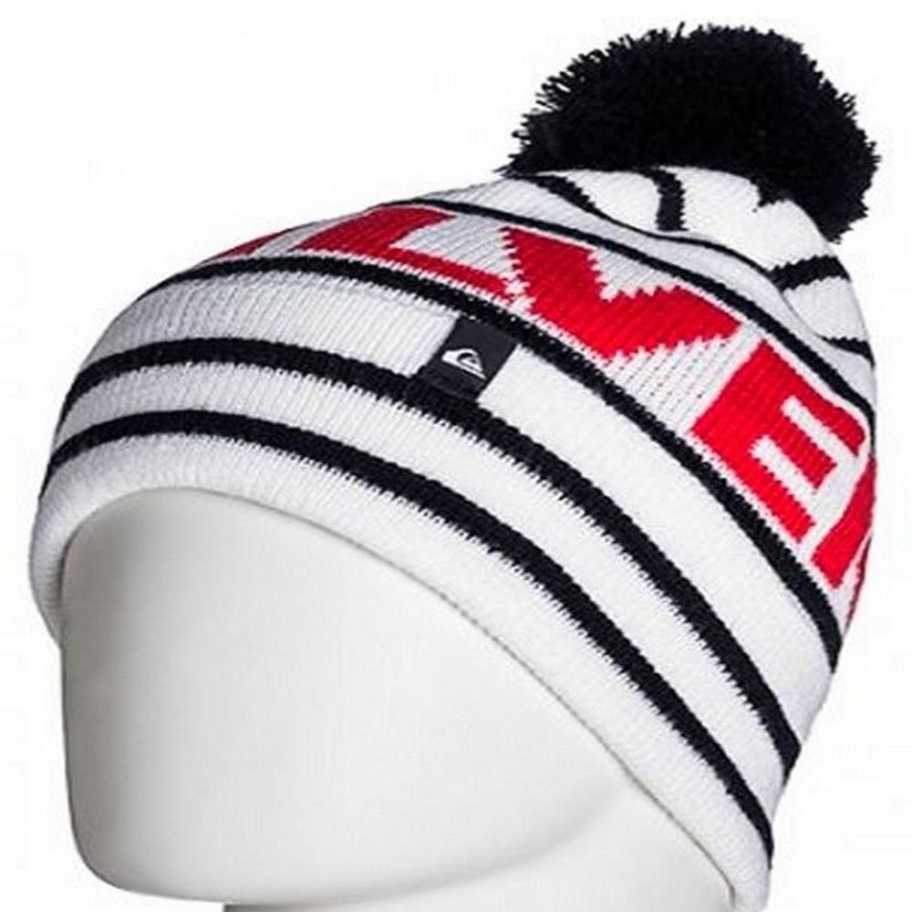 7f3effce838016 Quiksilver Mens Sumit White Bobble Hat One Size | Beanie Hats ...