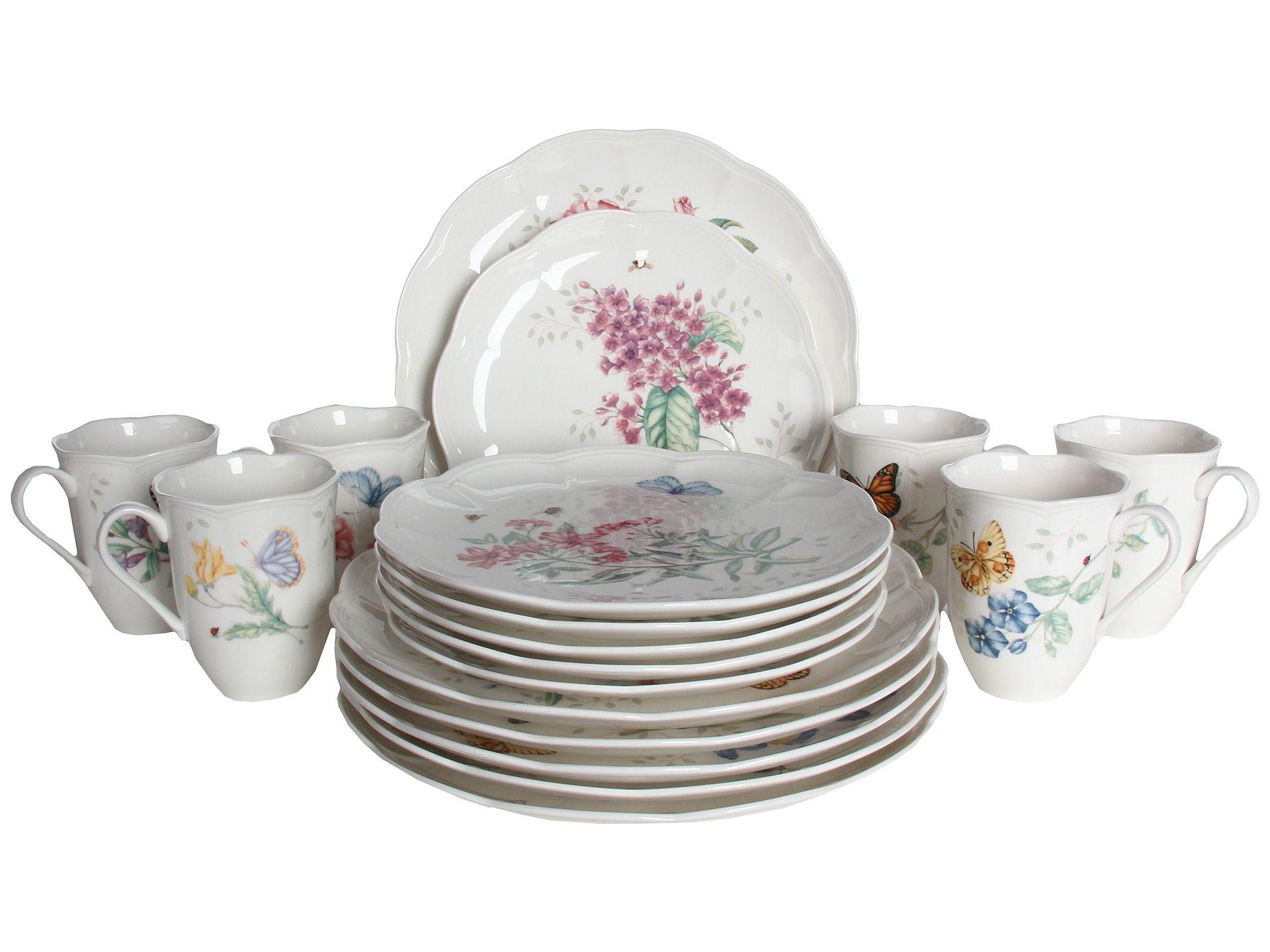 lenox butterfly table set lenox butterfly meadow 18 piece set i - Lenox Dinnerware