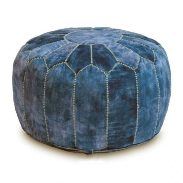 Photo of Velvet Pouf – Antique Blue