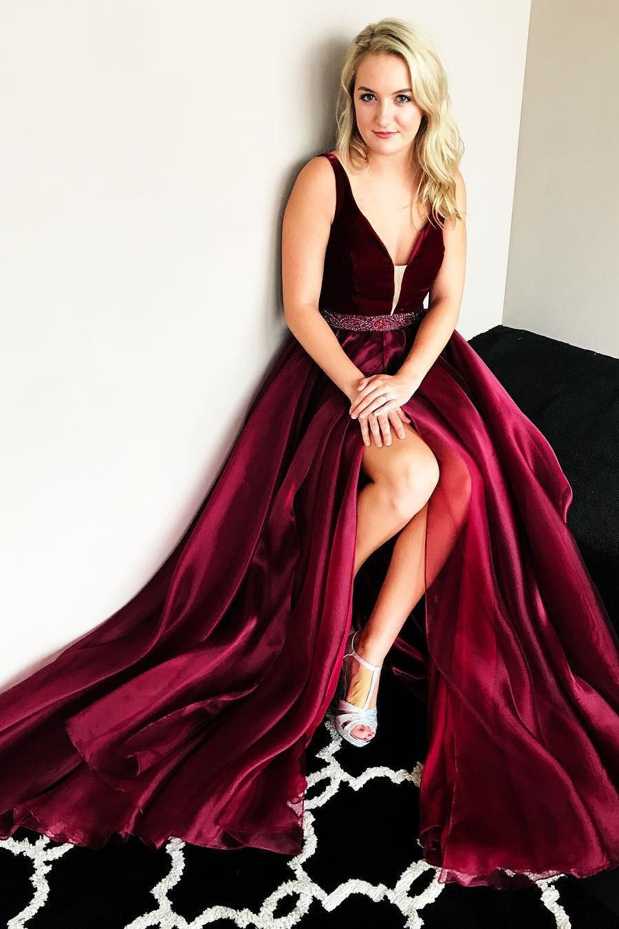 Gorgeous aline burgundy long prom dress with side slit in
