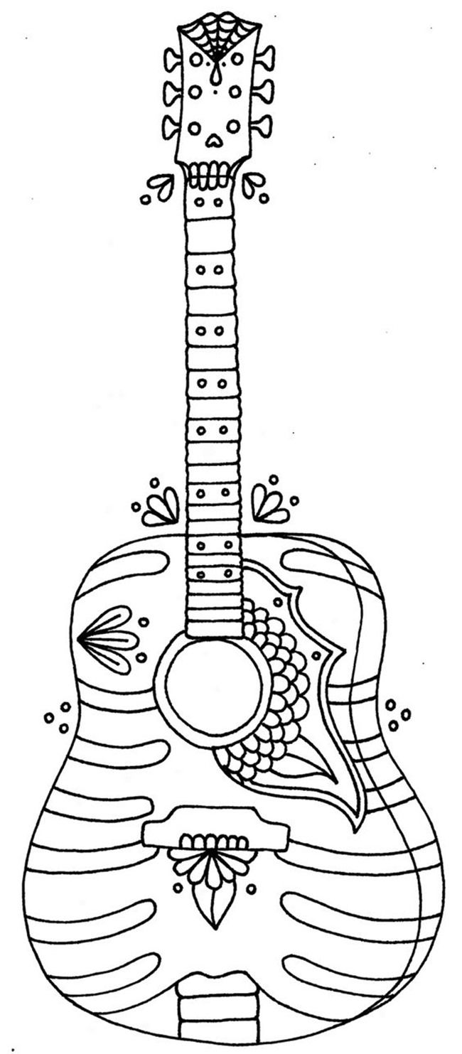 Free Printable Coloring Pages for Summer Guitars Digi stamps
