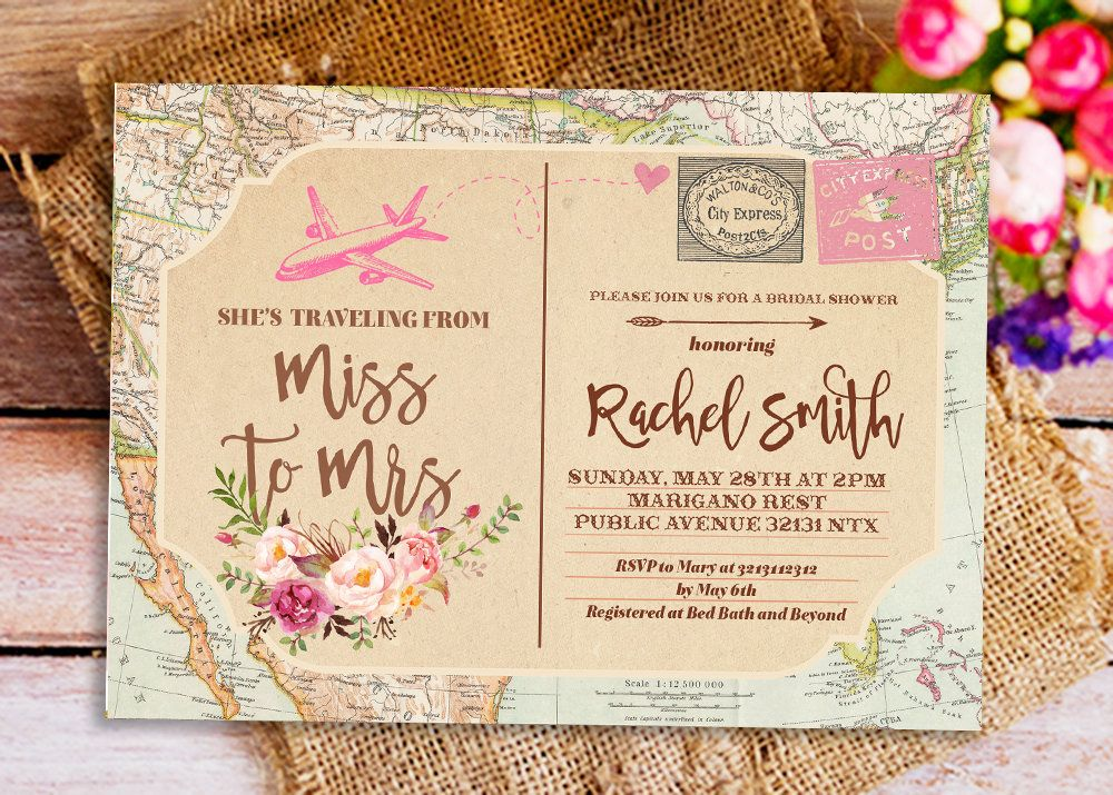 Traveling From Miss To Mrs Invitation, Miss To Mrs Bridal Shower Invitation,  Postcard Invitation, Travel Themed Bridal Shower Invitation