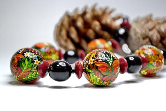 Ukrainian Folk Art Wooden Hand Made Bead Bracelet
