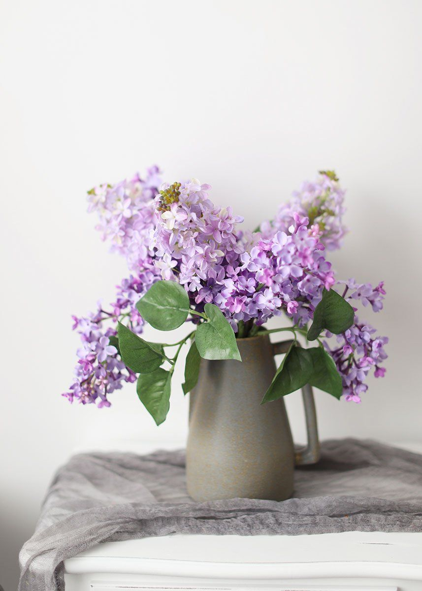 Artificial Lilac Flowers In Lavender In 2020 Fake Flowers Decor Lilac Flowers Purple Wedding Flowers