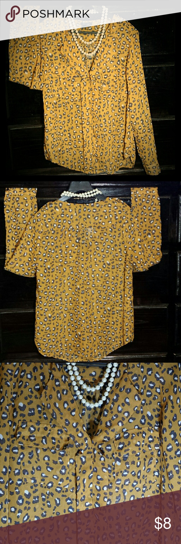 Cheetah print blouse Burnt yellow/gold cheetah print blouse (necklace not included) Tops Blouses