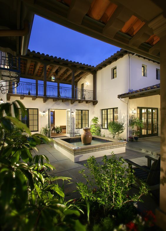55 Stunning Courtyard Ideas Modern Traditional The Mood Palette Courtyard House Plans Spanish Style Homes Hacienda Style Homes