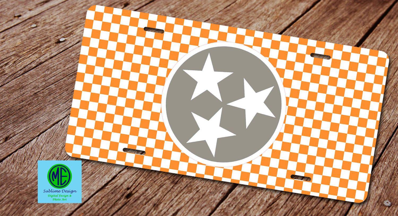 Tennessee Vols License Plate Car Tag Orange White Checkerboard TN ...