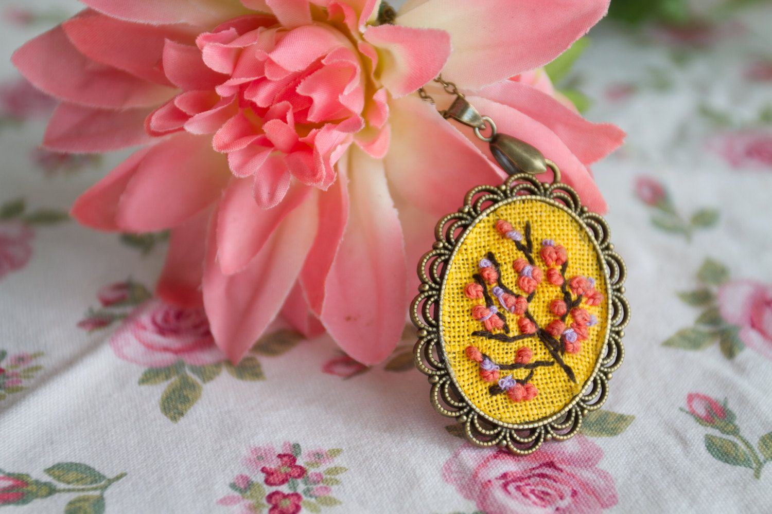 Cherry blossom hand embroidered necklace flower floral bouquet