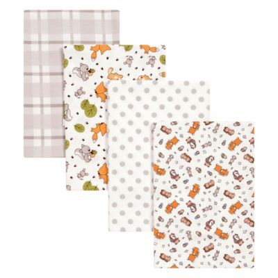 Trend Lab 4 Pack Wild Bunch Flannel Receiving Blankets