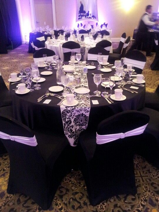 Black Spandex Chair Cover With White Band And Broach And Damask Runners Www Eleg Com Black And White Decor Diy