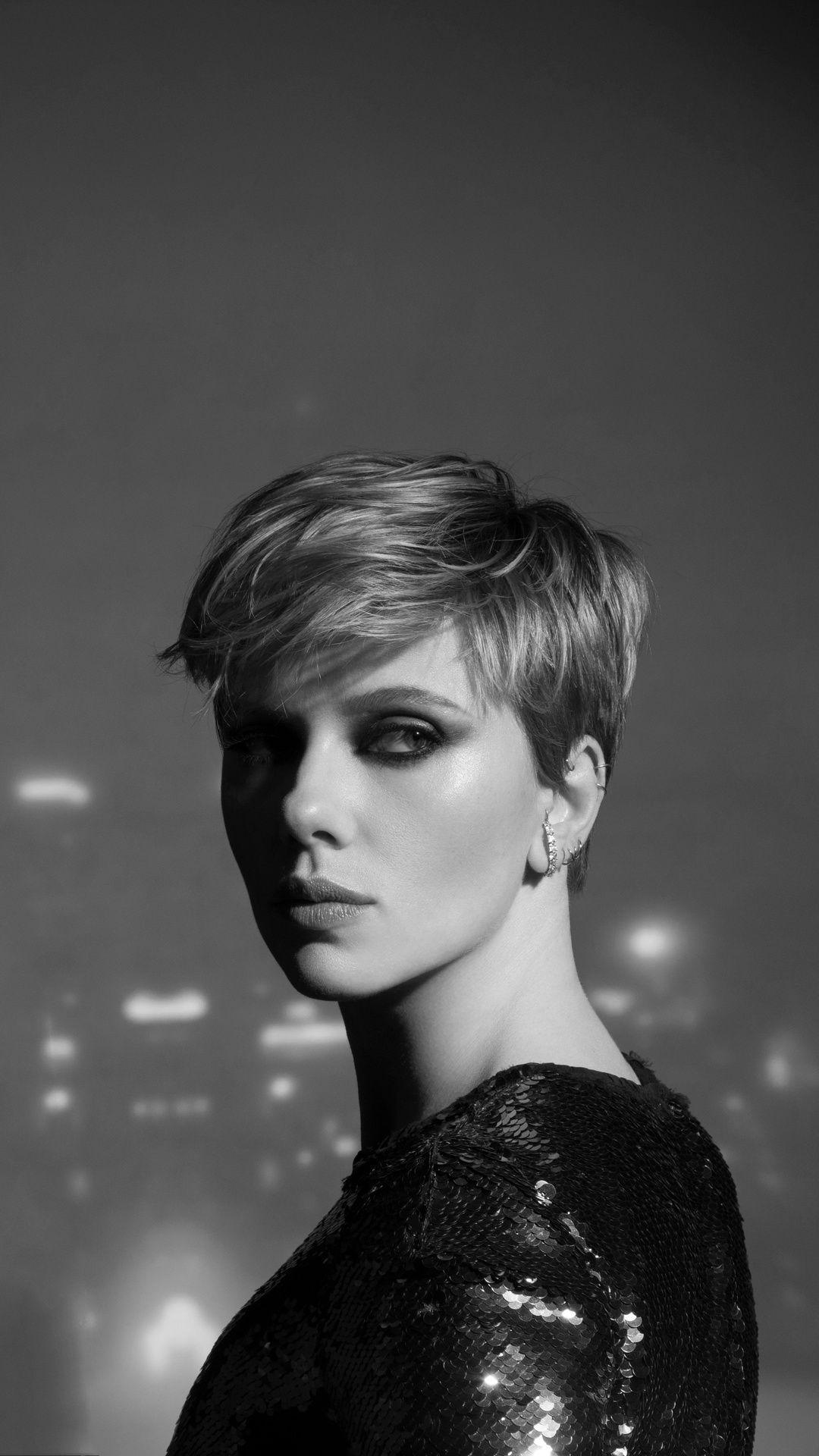 Scarlett Johansson Monochrome 2020 Mobile Wallpaper