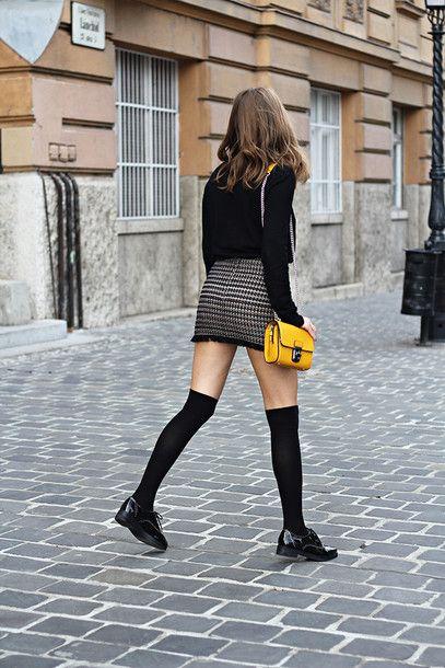 7d325e7f753 Skirt  tumblr mini bag yellow bag top black top long sleeves over the knee  knee high socks striped