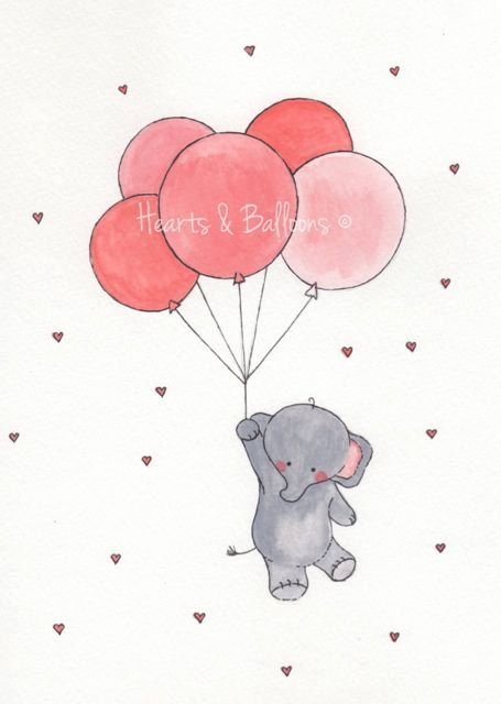 Childrens art Elephant Balloons watercolour painting PRINT 8 x 10 Up up and away Elephant Pink Red Hearts Love Happy Cute Boy Girl