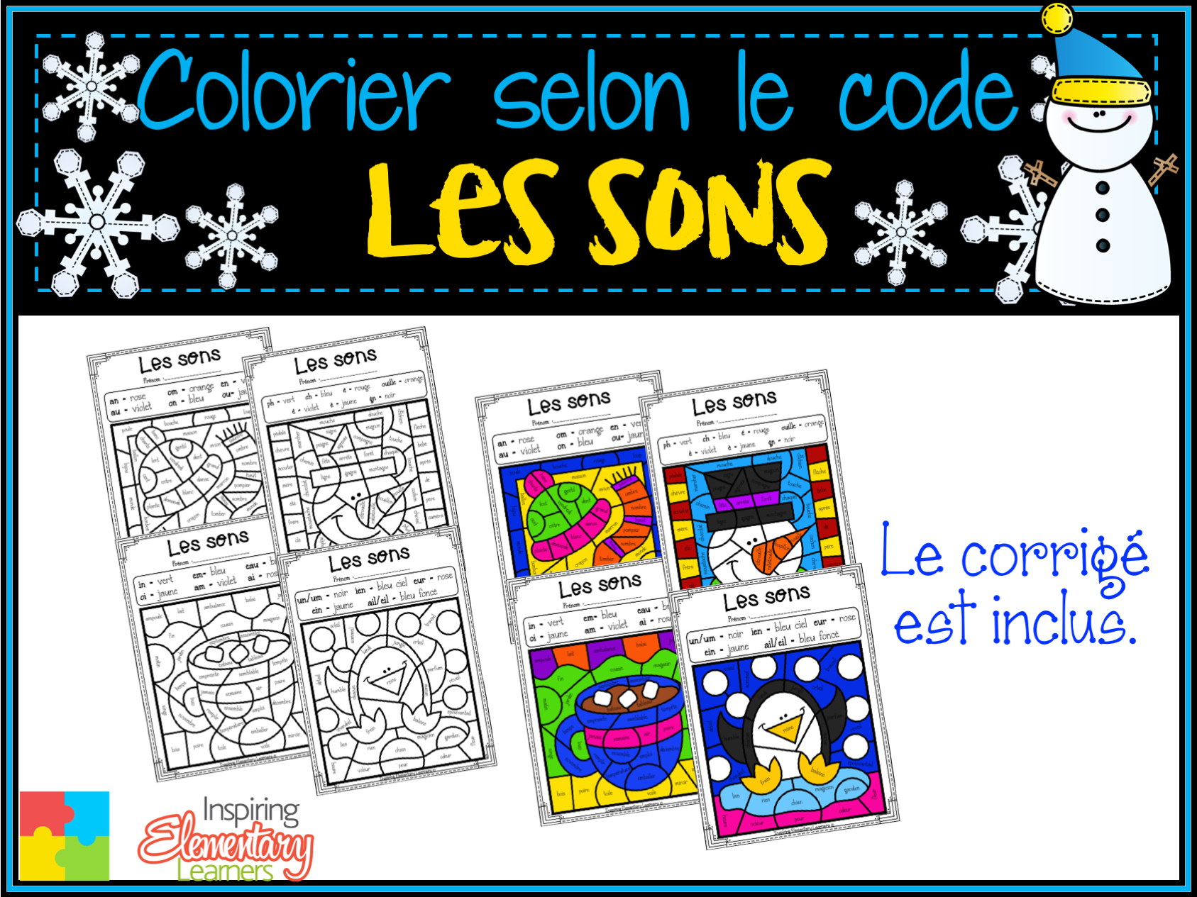 French Winter Color By Sounds Coloriage Magique Les