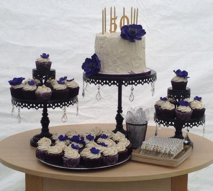 Elegant 50th birthday cake idea using pedestal cake stands. See more ...