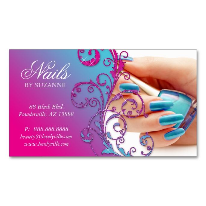 Nail Salon Business Card Glitter Blue Pink | Salon business and ...