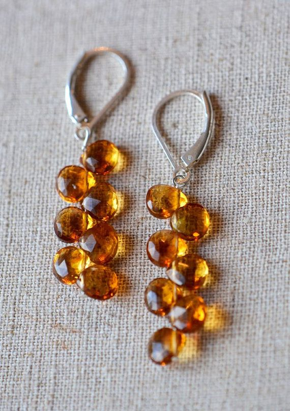 Citrine Dangler Earrings by GalantaJewels on Etsy