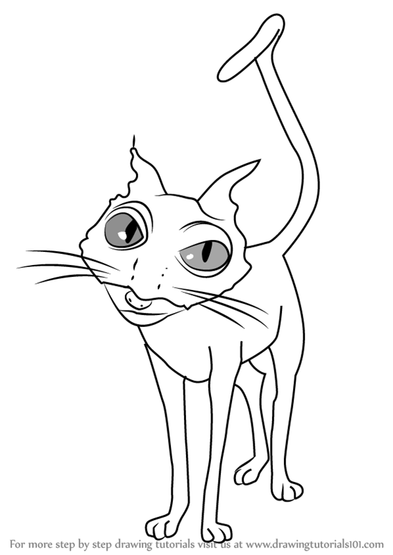 Step By Step How To Draw Cat From Coraline Drawingtutorials101 Com Coraline Drawing Coraline Art Drawings