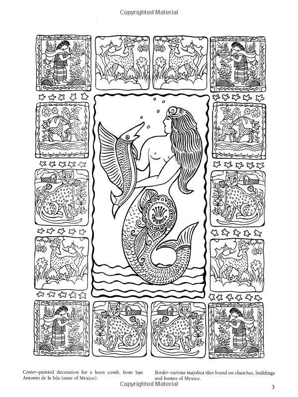 Amazon.com: Mexican Folk Art Coloring Book (Dover Design Coloring ...
