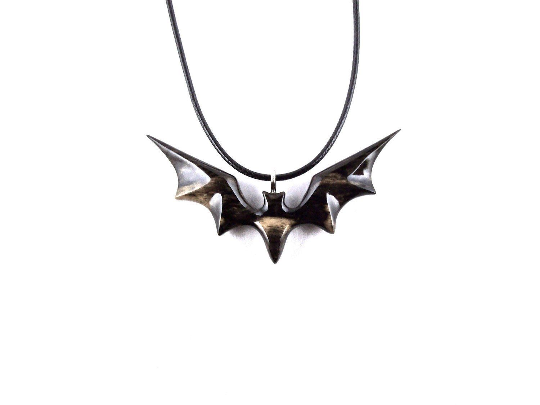 Bat Necklace Carved Bat Pendant Wooden Bat Pendant Gothic Jewelry