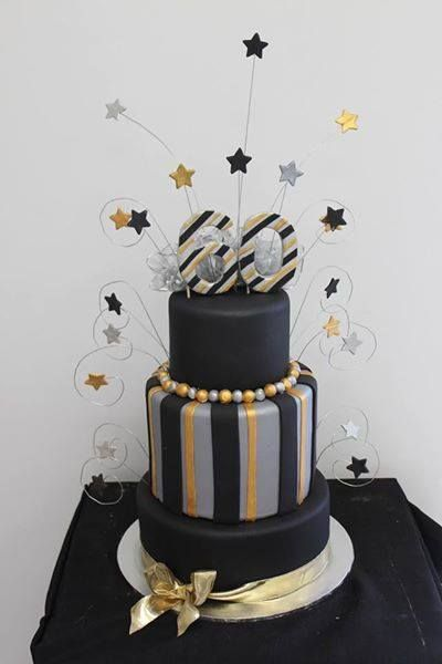 Silver Black And Gold Cake Gold Birthday Cake Birthday Cakes For Women Cool Birthday Cakes