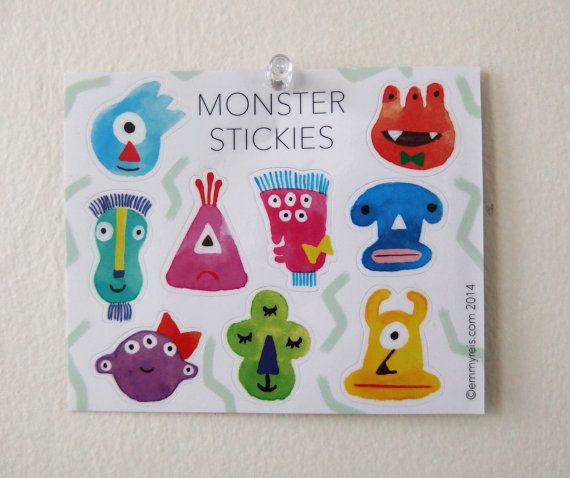 Original Watercolor Monster Stickies