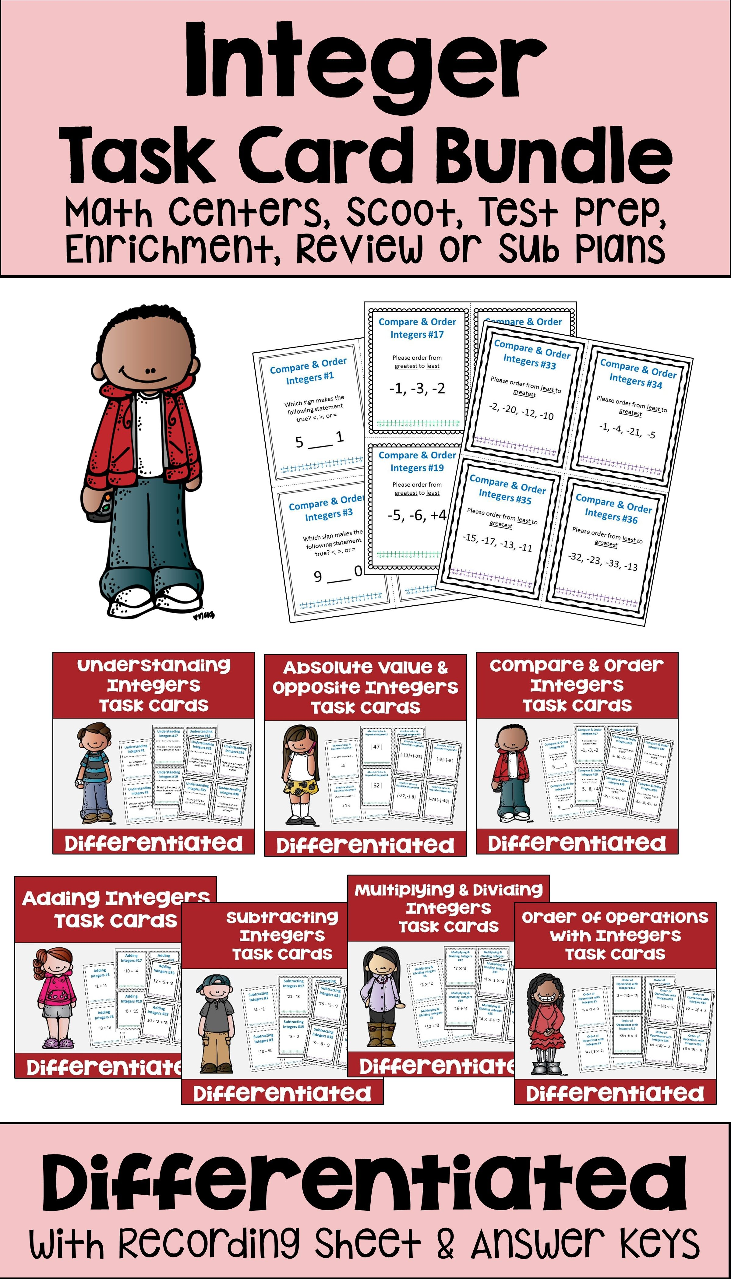 These Differentiated Integer Task Cards For Students Are
