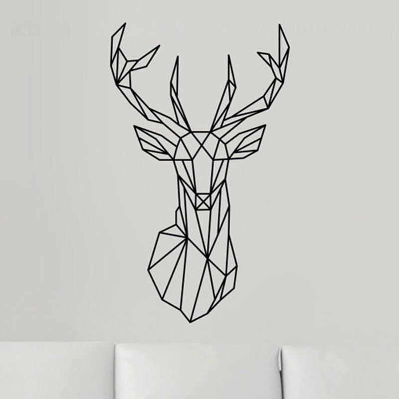 New Design Geometric Deer Head Wall Sticker Geometry Animal - Wall decals 2016