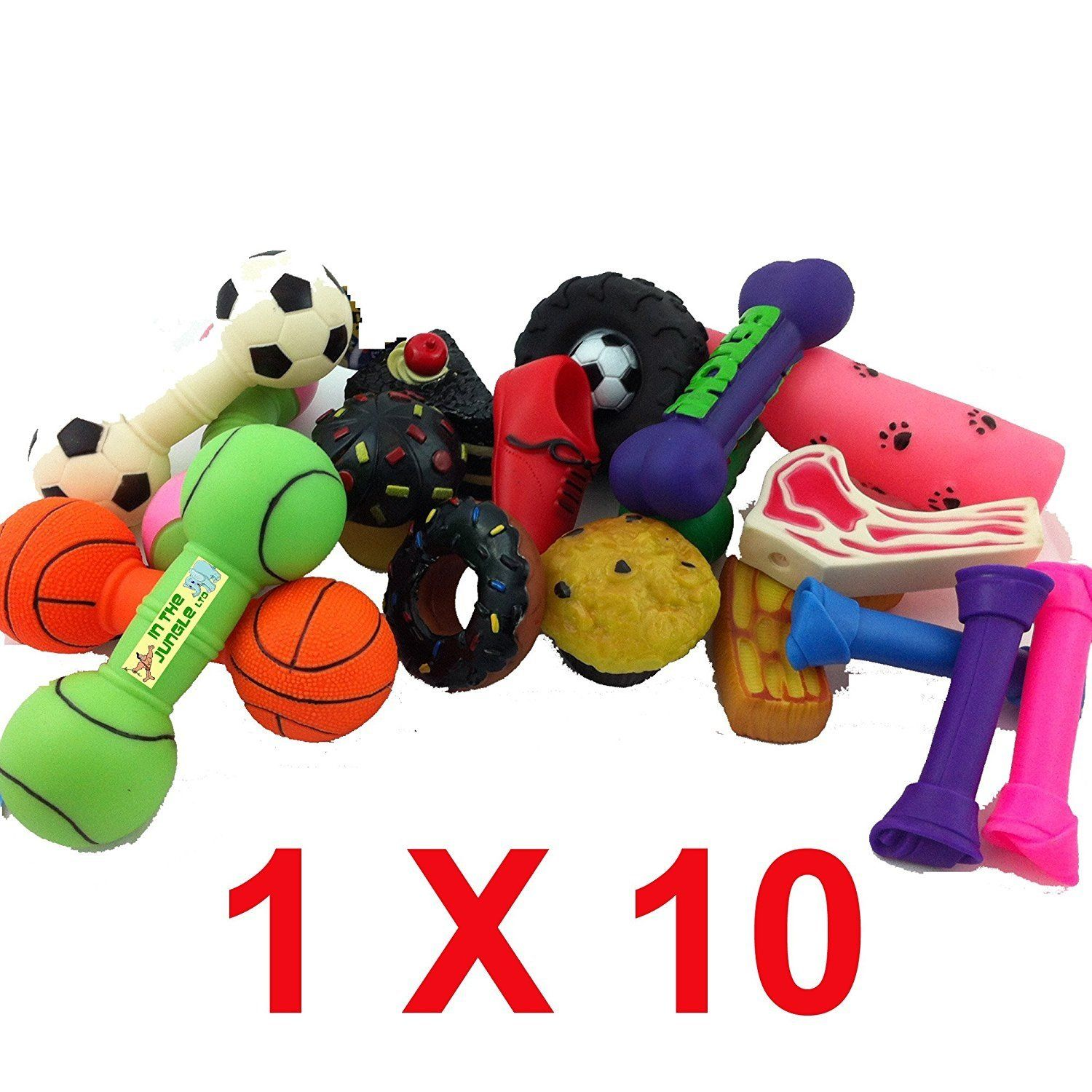 Bumper Selection Of Squeaky Vinyl Dog Toys Pack Of 10 Medium Sized