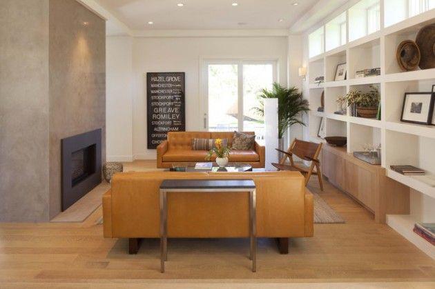 17 brillante WohnzimmerDesigns mit Ledermöbeln, die Sie